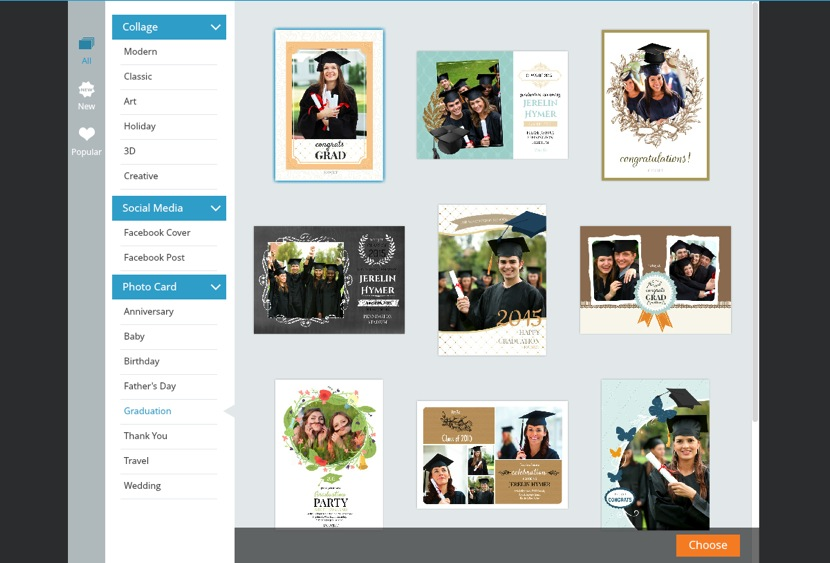 Choose college graduation card template
