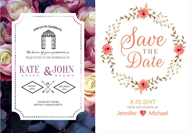 FotoJetu0027s Wedding Invitation Card Templates  Free Wedding Invitation Card Templates