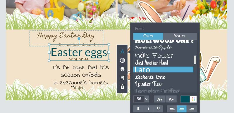 Adjust the text of the Easter Card