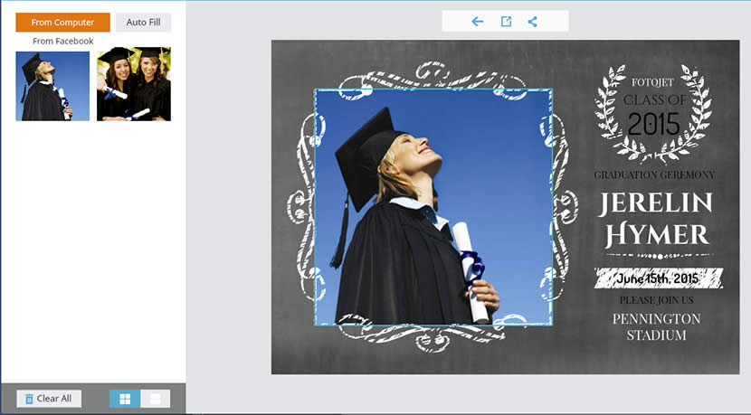 Send free graduation invitation cards made online to announce your add graduation photos filmwisefo
