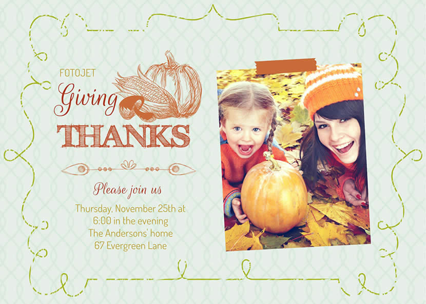 Finished Thanksgiving card