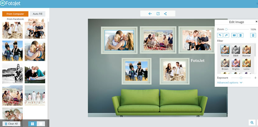 display photos into family collage frames