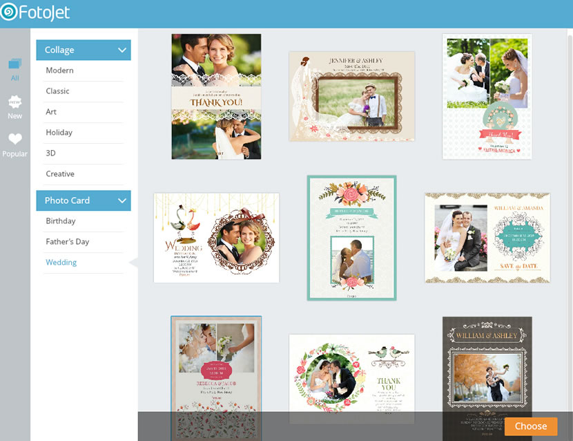 Choose a wedding invitation template
