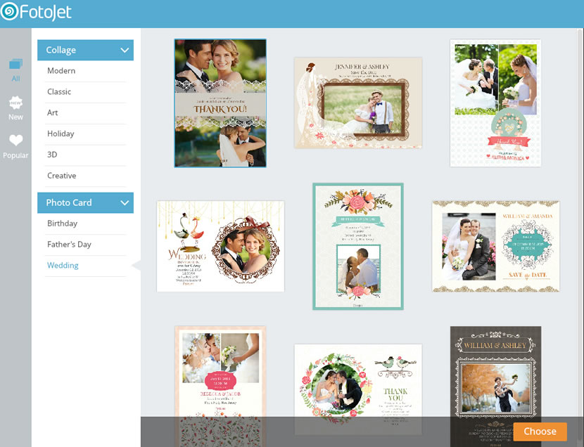 choose a weding thank you card template