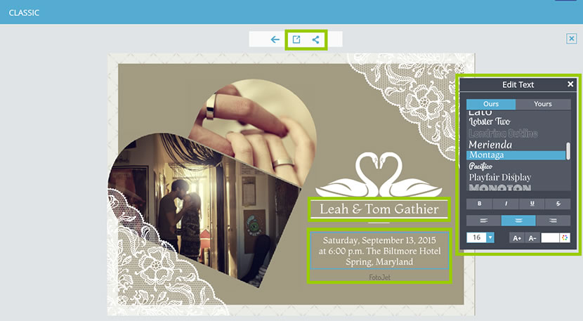 Make wedding anniversary cards by yourself with free online photo