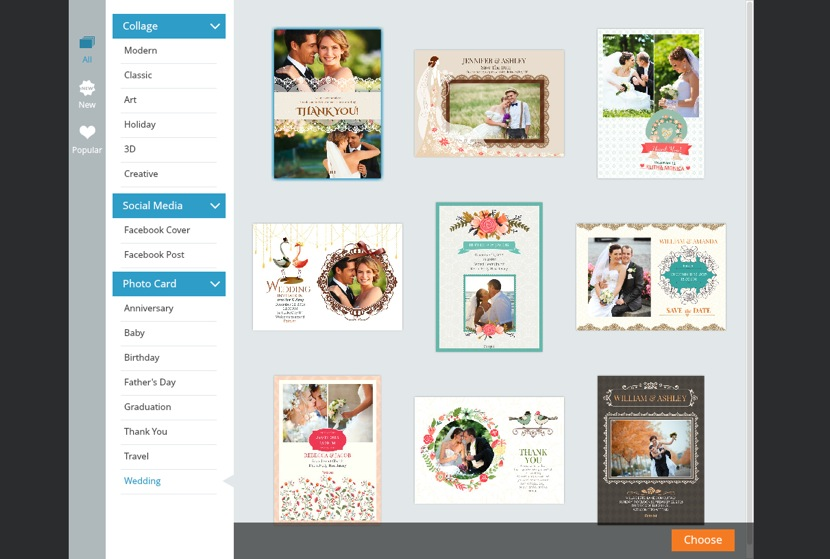 Choose wedding greeting card template
