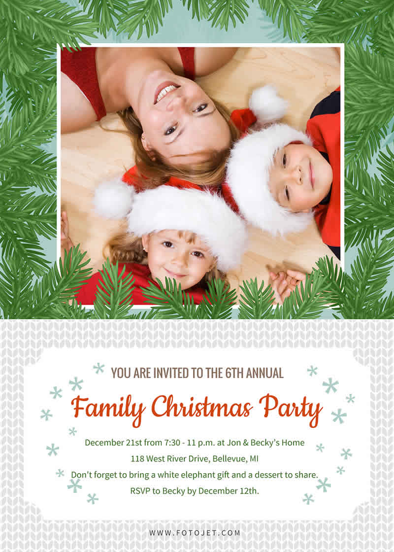 Christmas invitation card sample