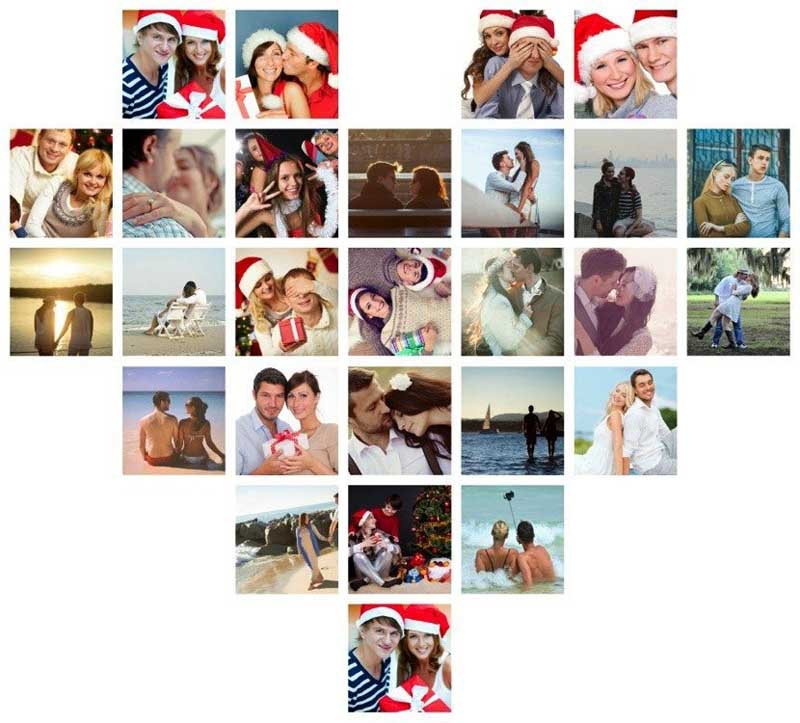 Heart shaped Christmas collage