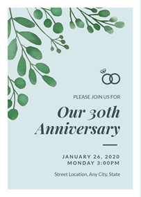 40th Wedding Anniversary Invitation; 30th Wedding Anniversary Invitation