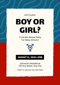 Baby gender reveal invitation