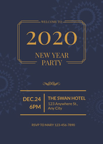 Firework New Year party invitation