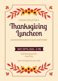Floral Thanksgiving party invitation