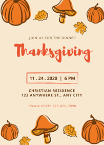 Pumpkin Thanksgiving party invitation
