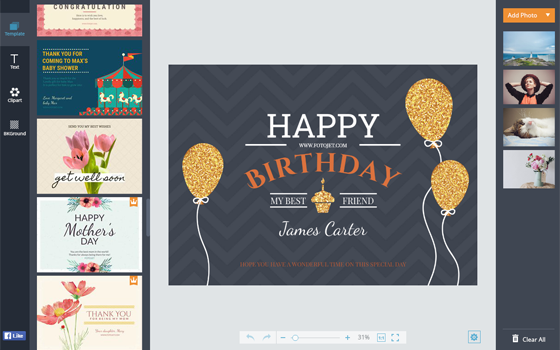 birthday card maker  design printable birthday cards online  fotojet, Birthday card