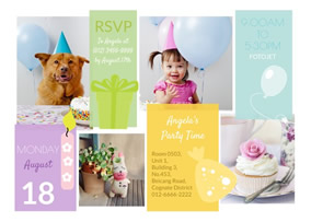 Birthday invitation collage