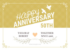 50th anniversary thank you card