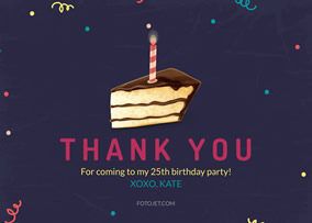 25Th Birthday Thank You Card Template
