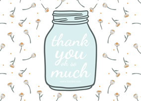 ... Flower And Bottle Thank You Card