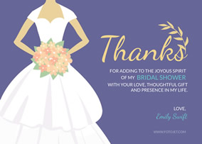 purple bridal shower thank you card