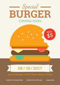 New special burger promotional flyer