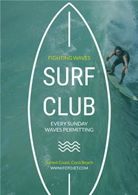 Surf club promotional flyer