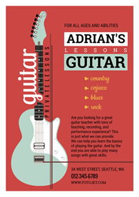 Guitar lesson promotional flyer
