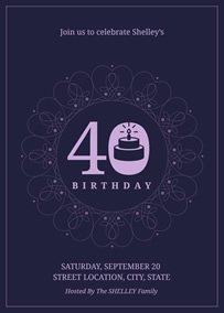 Flowery 40th birthday invitation
