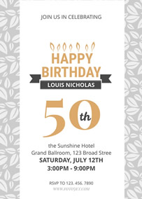 50th Birthday Party Invitation ...  Invitation Birthday Template