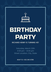 Blue 40th birthday invitation