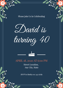 Floral 40th birthday invitation
