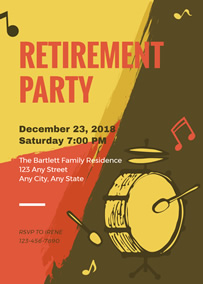 Musical retirement party invitation
