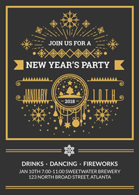 Golden New Year party invitation