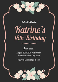 Floral 18th Birthday Invitation