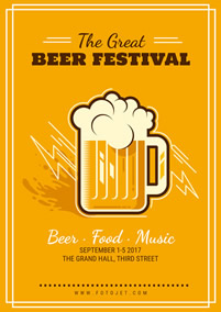 Yellow Beer Festival Poster Design Template