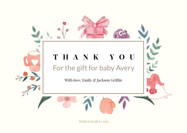 Baby Gift Thank You Card Template Template Fotojet