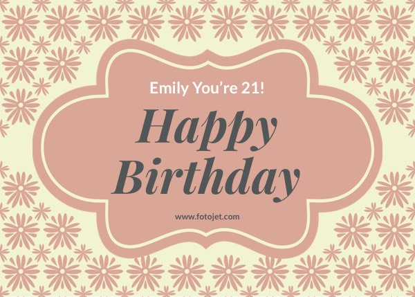 Happy 21St Birthday Greeting Card Template
