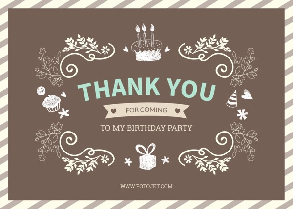 Personalised Birthday Thank You Card Template Template – Thank You for the Birthday Card