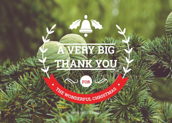 Photo Christmas Thank You Card Template