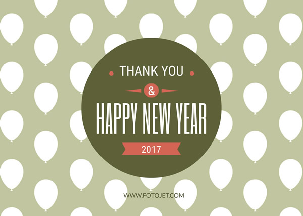 new year thank you card design template
