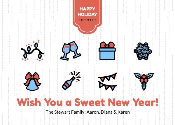 happy new year greeting card design template
