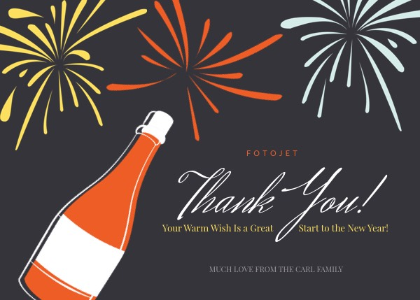 firework new year thank you card template