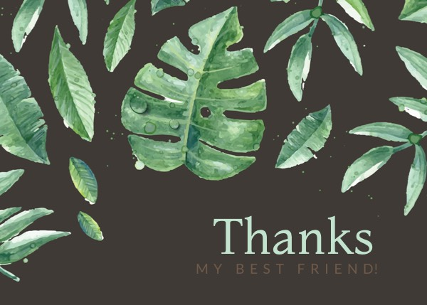 Leaves Thank You Card for Friends Template