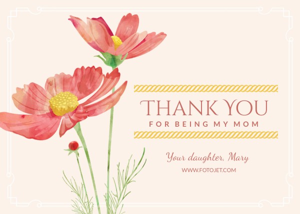 Printable Flower Thank You Card for Mother