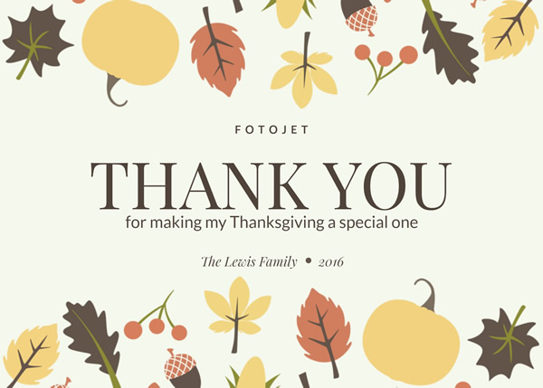 '.Leaves and Fruits Thanksgiving Card Template.'
