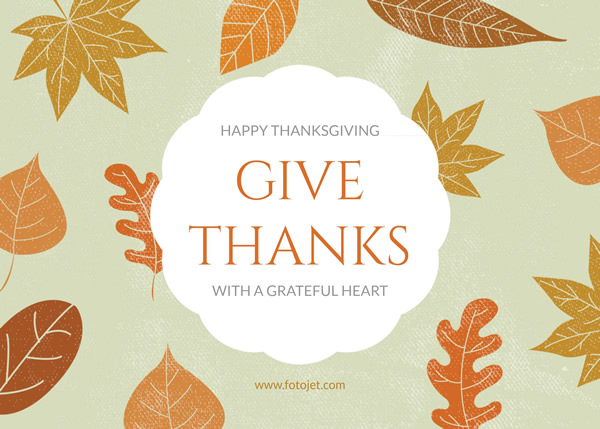 '.Leaves Happy Thanksgiving Greeting Card Template.'