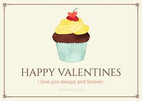 Cupcake Happy Valentine's Day Card Template