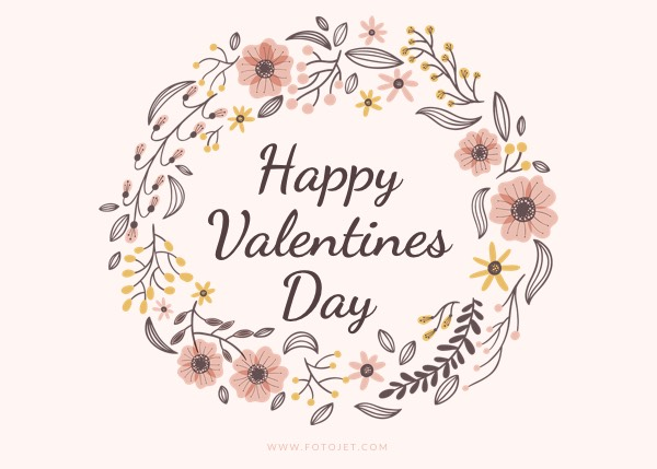 Wreath Happy Valentine Greeting Card Template Template Fotojet