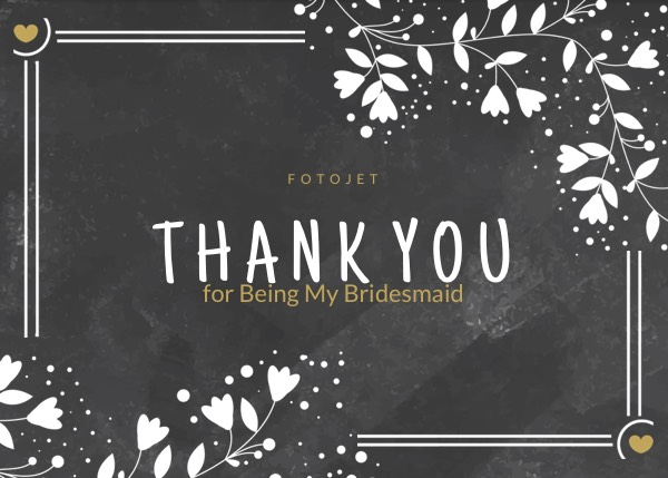 Bridesmaid Thank You Card Template Template Fotojet
