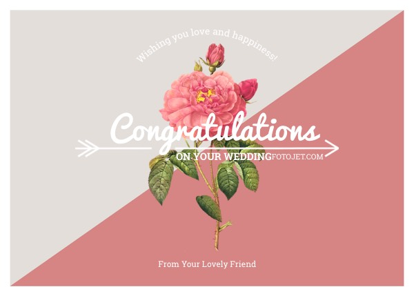 Rose Wedding Congratulation Card Template