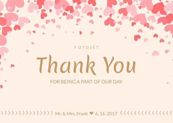 Heart Wedding Thank You Card Template